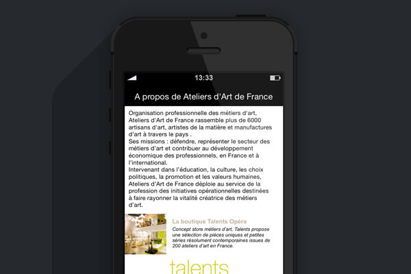 Application mobile Ateliers d'Art de France